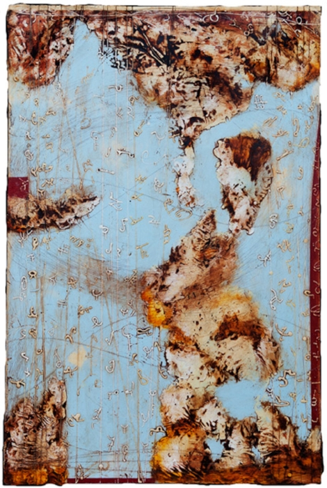 Remnant 2010 , encaustic and oil on panel 38 x 24 inches  Private Collection, Seattle