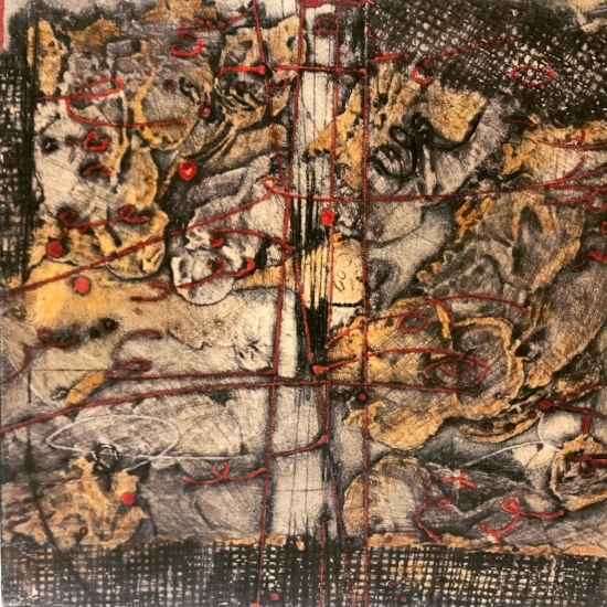 Lost Map 9,  mounted encaustic collagraph monoprint on panel, 10 x 10 inches.  SOLD
