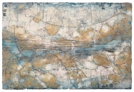 Glacier Topography 2 , encaustic and oil on panel 20 x 30 inches.   Private collection, Palm Desert, CA