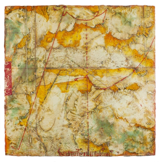 Territory Chart III , encaustic and oil on panel 30 x 30 inches.  Private Collection, Houston.