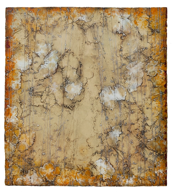 Celestial Legend, 2013  encaustic and oil on panel 51 x 46 inches  Private Collection, Houston