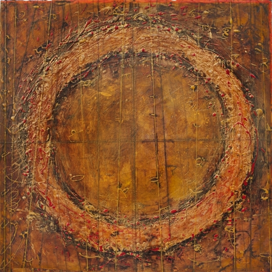 Collider, 2012  monotype, encaustic and oil on panel, 24 x 24 inches. SOLD