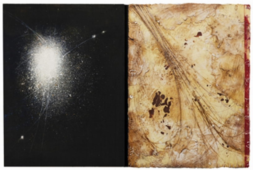 Opposing Cartography 2,  encaustic and oil on panel 23 x 38 inches  Private Collection, Portland