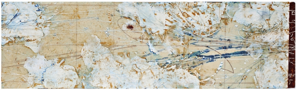 Particle Cartography, 2012  encaustic and oil on panel 14 x 48 inches  Private Collection, Portland
