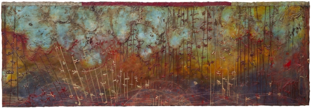 Quantum Singularity, 2011  encaustic and oil on panel 24 x 70 inches  Private Collection, Seattle