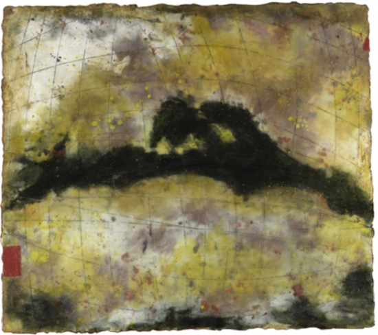 Sun Storm Table , encaustic and oil on panel 26 x 24 inches  Private Collection