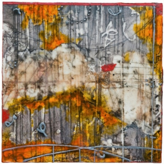 Solar Riddle 4, 2012 monoprint, encaustic and oil on panel 12 x 12 inches  Private Collection, Boston