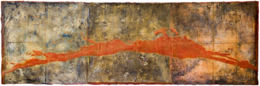 Carona Flare, 2010 monotype, encaustic and oil on panel 24 x 72 inches  Private Collection, Portland