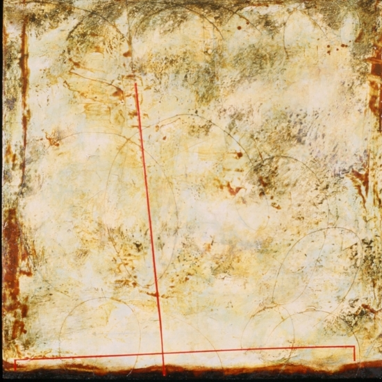 Surveyor V, 1999 encaustic, xerox transfer, roofing tar and oil on panel 42 x 42 inches  Private Collection, Bellingham, WA