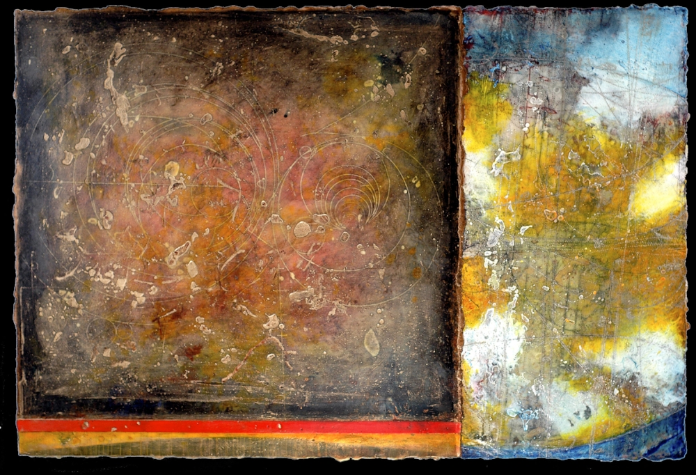 Event Horizon II, 2009 monotype, encaustic and oil on panel  Private Collection, Boston