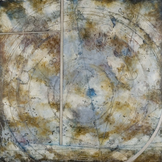 Asteroid Loop, 2007  encaustic and oil on panel 30 x 30 inches  Private Collection, Boston