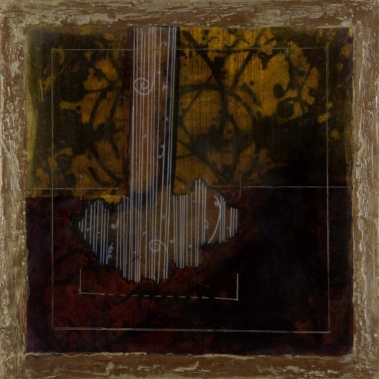 Code Impact II, 2007  xerox transfer, shellac ink, beeswax and oil on panel 16 x 16 inches  Private Collection, Portland