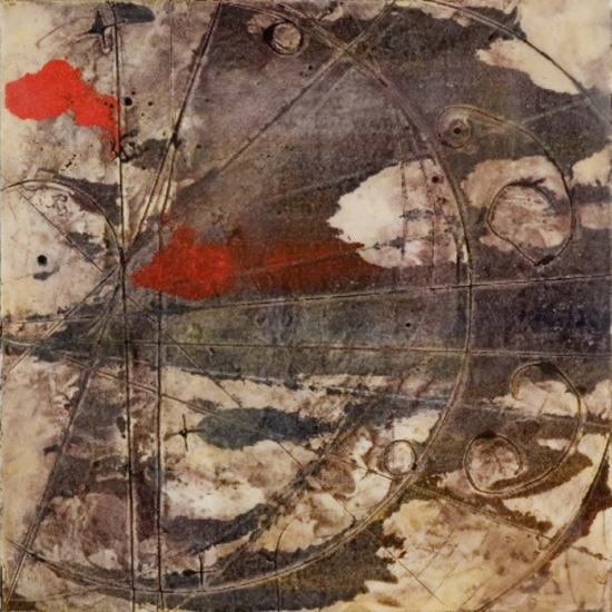 Chamber Plate 1, 2006  encaustic collagraph monotype and wax on panel 10 x 10 inches  Corporate Collection, Kodiak Venture Partners, Boston
