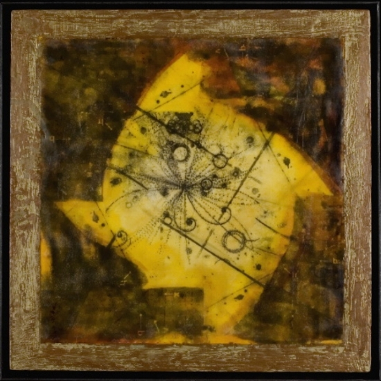 Particle Sequence, 2007  xerox transfer, shellac ink, wax and oil on panel 16 x 16 inches  Private Collection, Portland