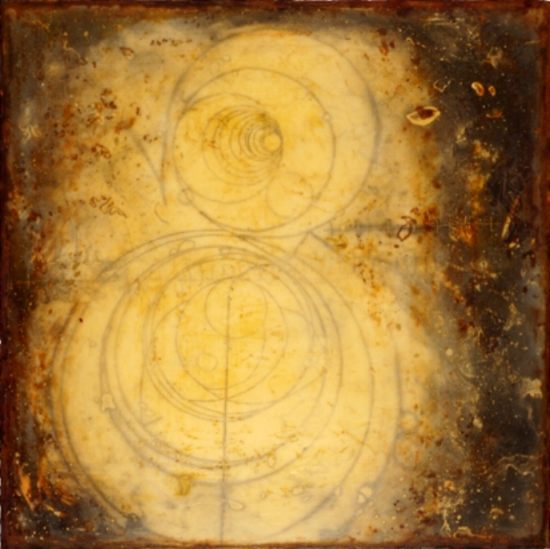 Counter Collision Study 1 , monotype, encaustic and oil on panel 24 x 24 inches  Private Collection, Portland