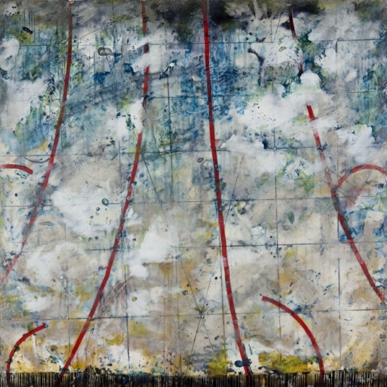 Meteor Shower, 2007  encaustic and oil on panel 16 x 16 inches  Private Collection, Portland