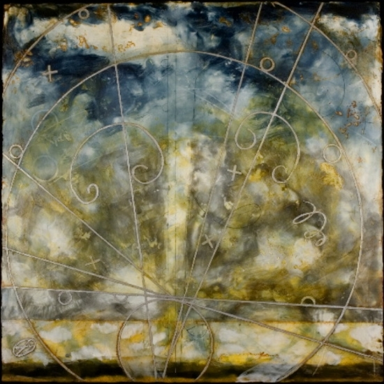 Turbulent Pass, 2006  encaustic and oil on panel 40 x 40 inches  Private Collection, Portland