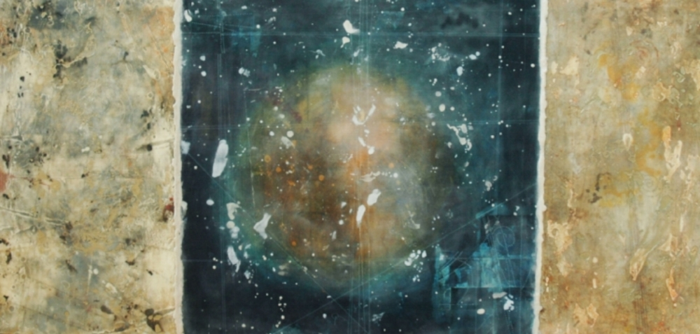 Hadron Loop I, 2008 monotype, encaustic and oil on panel 24 x 48 inches  Corporate Collection, Portland