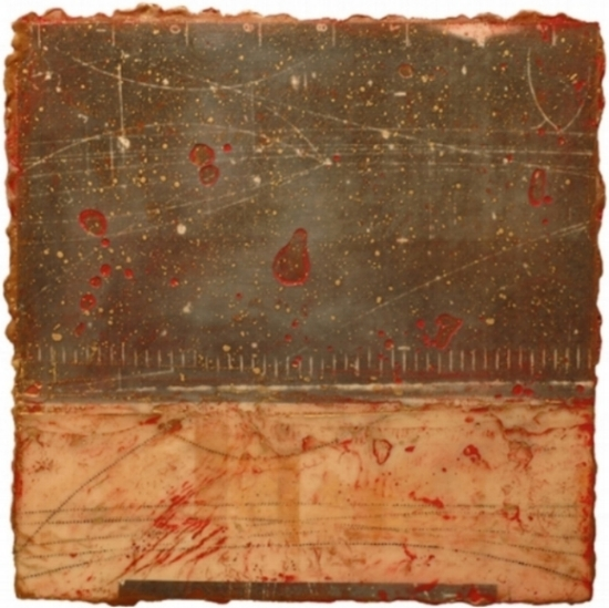 Particle Riddle I, 2009  monoprint, encaustic and oil on panel 16 x 16 inches  Private Collection, Boston