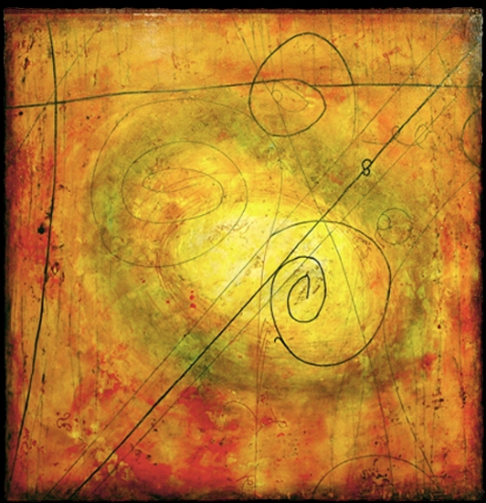 Particle Vortex V, 2010  encaustic and oil on panel 48 x 48 inches  Private Collection, Mercer Island, WA