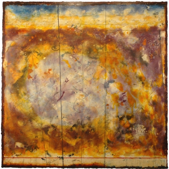 Celestial Cartography, 2009  encaustic and oil on panel  Private Collection, Topanga Canyon, CA