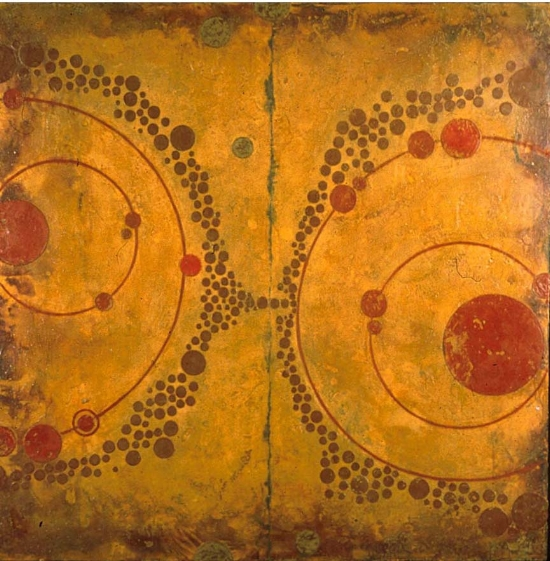 Half Circle Universe, 2003  encaustic and oil on panel 51 x 51 inches  Private Collection, Portland