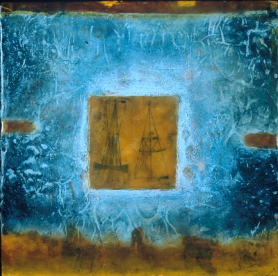 Beacons, 2002  encaustic, collage and oil on panel 10 x 10 inches  Private Collection, Bellingham, WA
