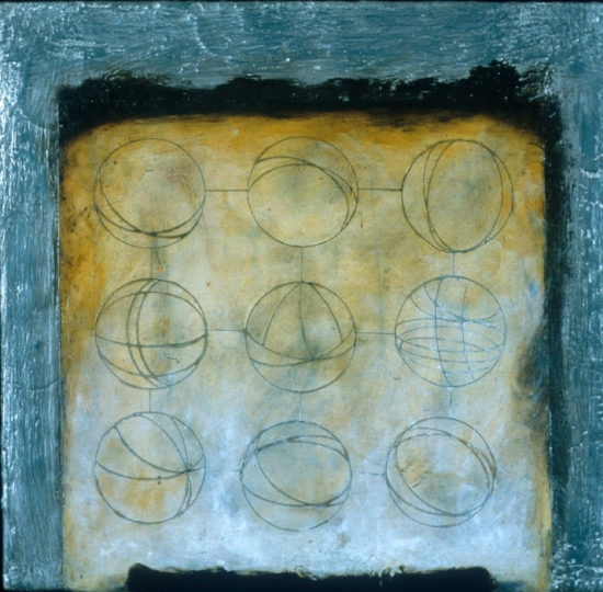 Empty Sky 2 , encaustic, xerox transfer and oil on panel 12 x 12 inches  Private Collection, Portland