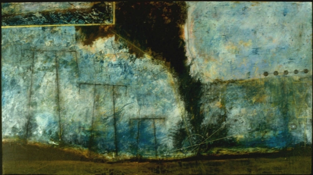 Empty Wind, 1996  encaustic, collage and oil on panel, 30 x 58 inches  Private Collection, Portland