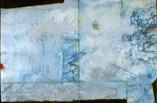 Entropic Gust 1997,  encaustic, roofing tar and oil on panel 23 x 16 inches  Private Collection, Portland