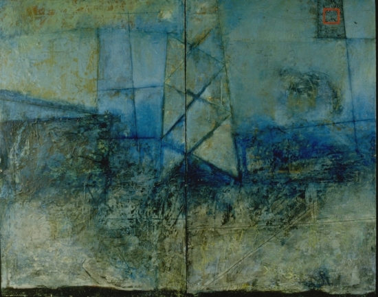 Remote Reference, 1996  encaustic, oil and collage on panel  Private Collection Portland