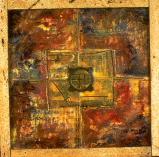 Weather Vane, 1995  encaustic, collage, lath and found object on shingle 18 x 18 inches  Private Collection, Portland