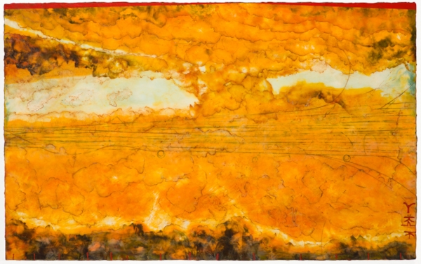Clearing , encaustic and oil on panel, 30 x 48 inches. Commissioned piece, Charlotte, NC