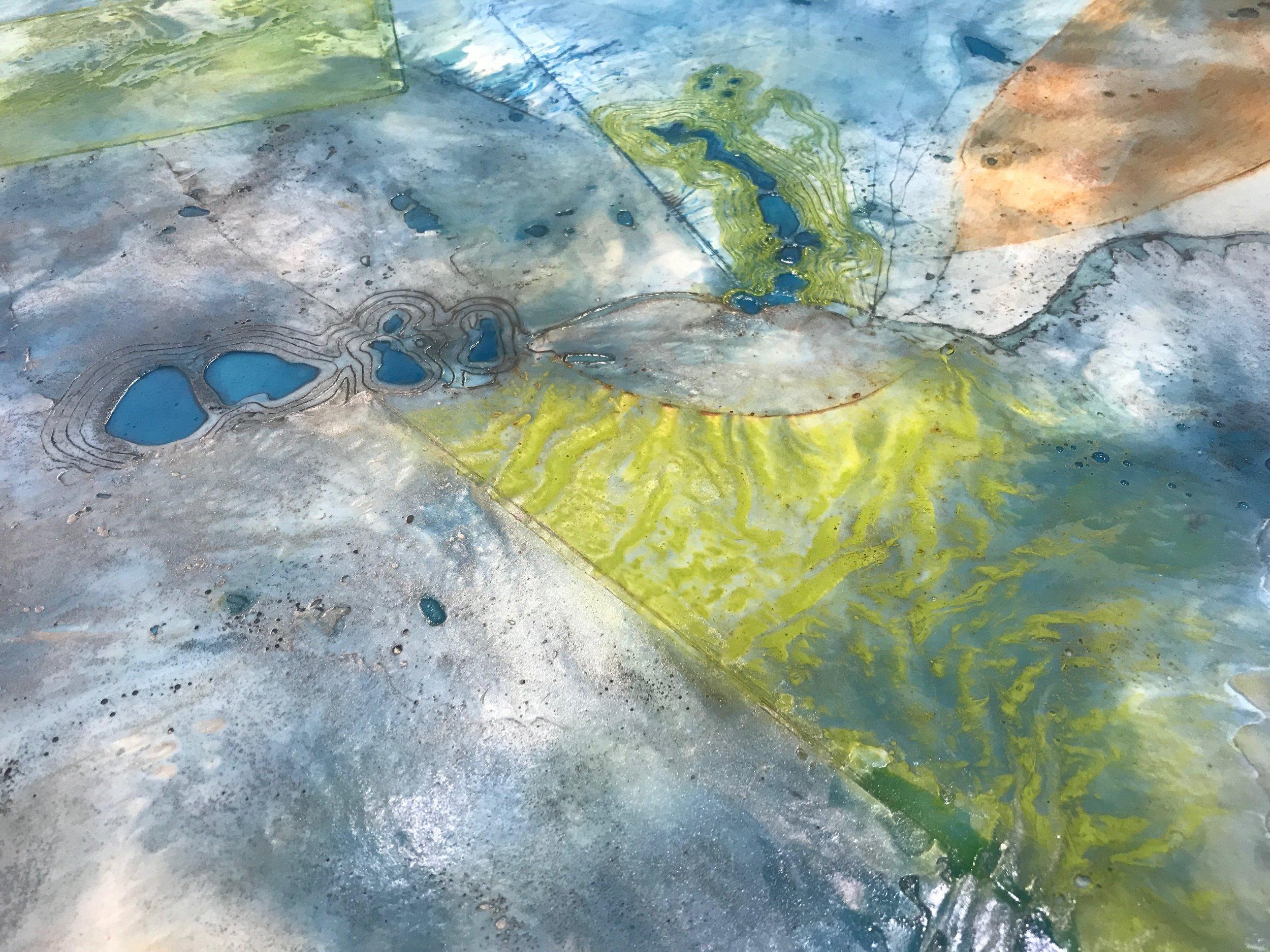 """Detail of my 30"""" x 48"""" piece:  Glacier Meridian"""
