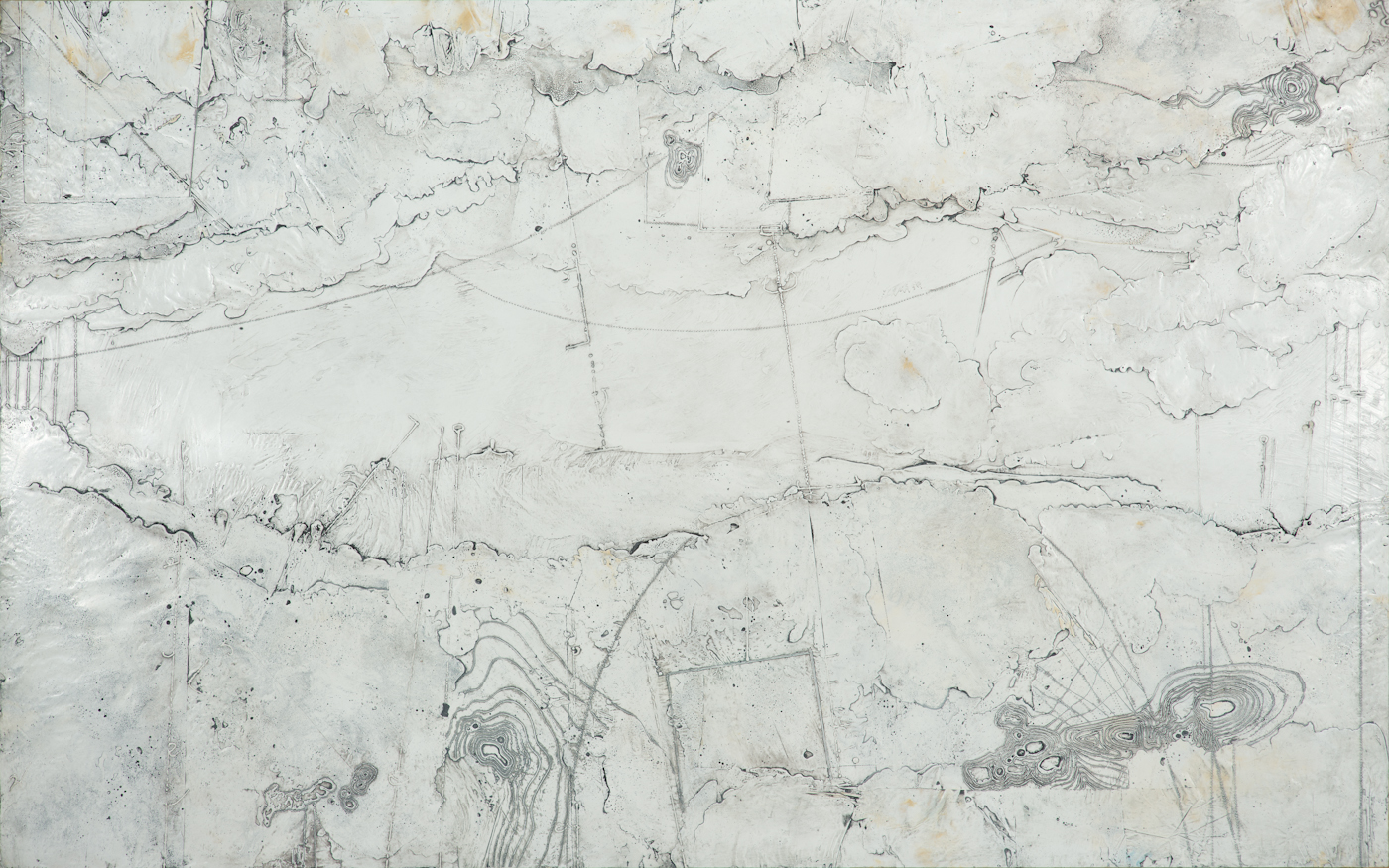 Polar Meridian, encaustic and oil on panel 30 x 48 inches