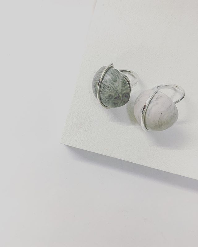 H A L F -  S P H E R E — Half - Sphere Ring - Available in both grey + pink online —   www.appinandthird.com