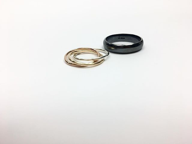M E G A N &  I A N 💕 a very special commission for a very special couple who were married on Saturday at what was probs the best wedding, in the whole world, ever! Ian went for a simple oxidised silver band while Megan's Russian style ring used rose gold, silver from Ian's ring, and yellow gold from part of her grandmothers wedding band. An absolute pleasure to make, we wish you all the happiness in the world ❤️❤️💕💕👰🏼👰🏼 #appinandthird #weddingbands #love