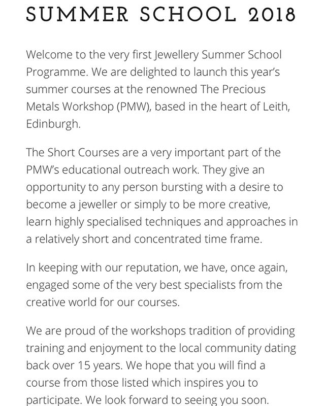 S U M M E R  S C H O O L This summer at @preciousmetalsworkshop we are launching an AMAZING summer school programme - spread over two weeks (9-12th July & 13-16th August) its an excellent opportunity for you to either begin learning how to make jewellery on the intensive week long courses or specialise in a particular technique like enamelling, forging or Viking weave, there's something for EVERYONE! I will be teaching both week long beginners courses, which are open to all levels, the more the merrier! I've popped the link in my bio so you can head straight to @preciousmetalsworkshop website and sign up! Can't wait to see you there!! 😘❤️ #appinandthird #handmadejewellery #makeyourownjewellery #learnsomethingnew