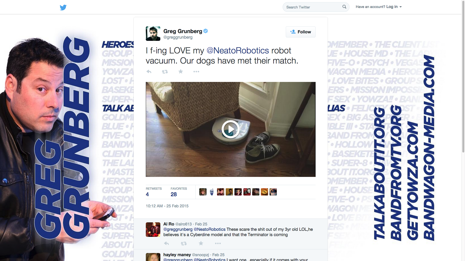Neato • Greg Grunberg Tweet