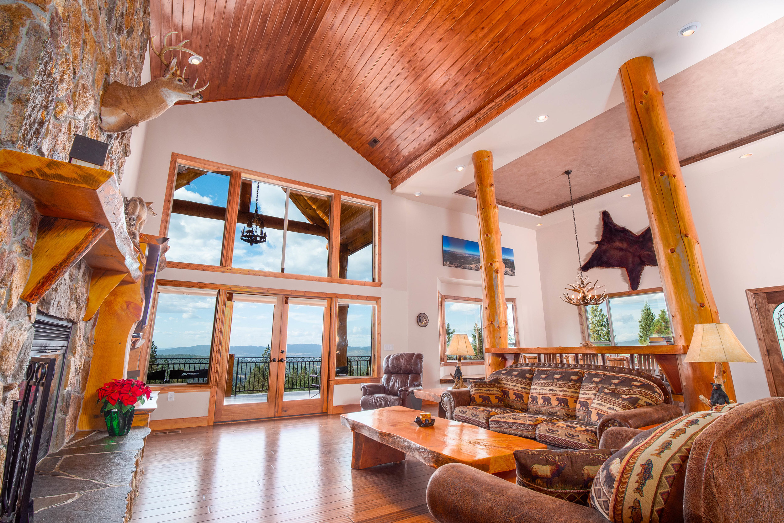 Great Room on the main floor with stunning views and amazing attention to detail.