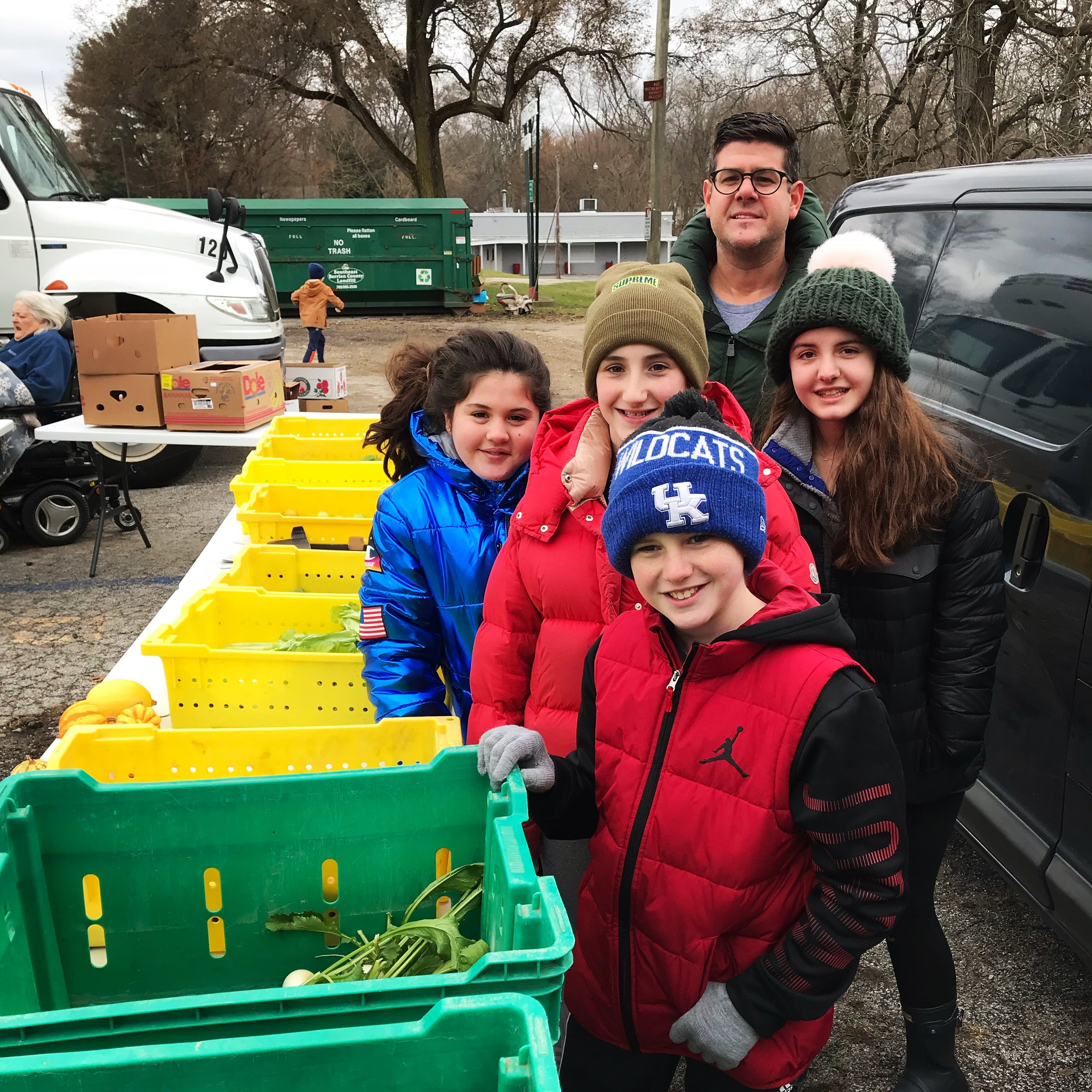 The Harris family at our Thanksgiving Mobile Food Pantry in New Troy, MI