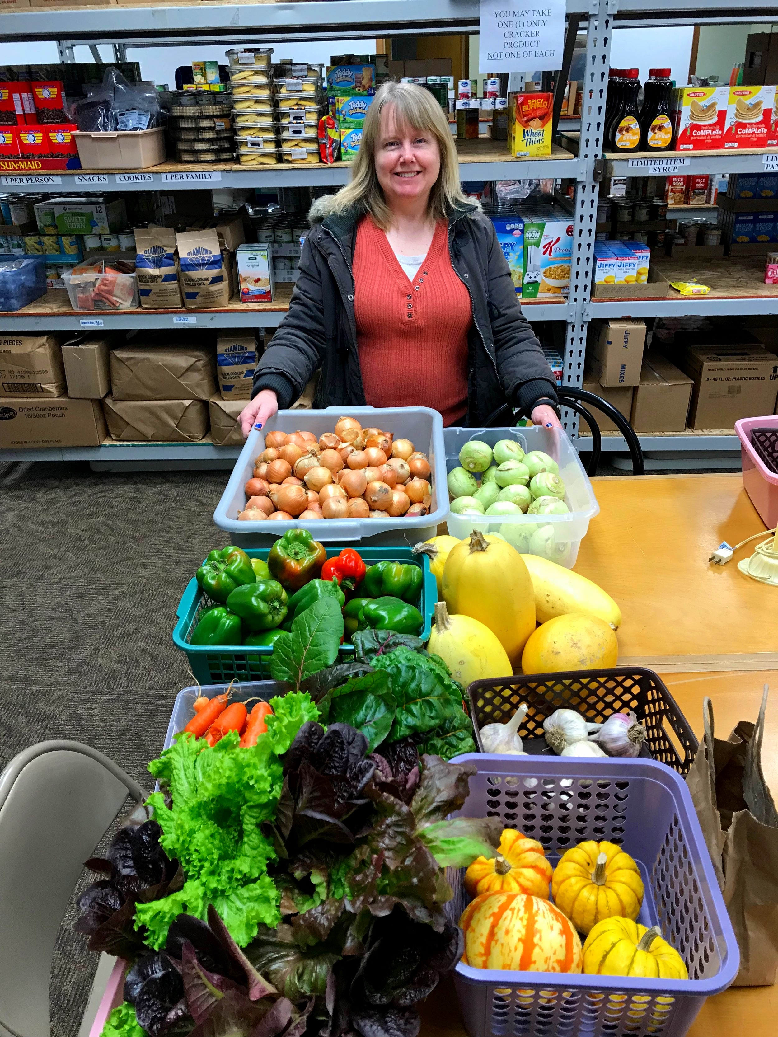 Former Redbud Area Ministries food pantry ED Christy McPhearson with HFFF bounty
