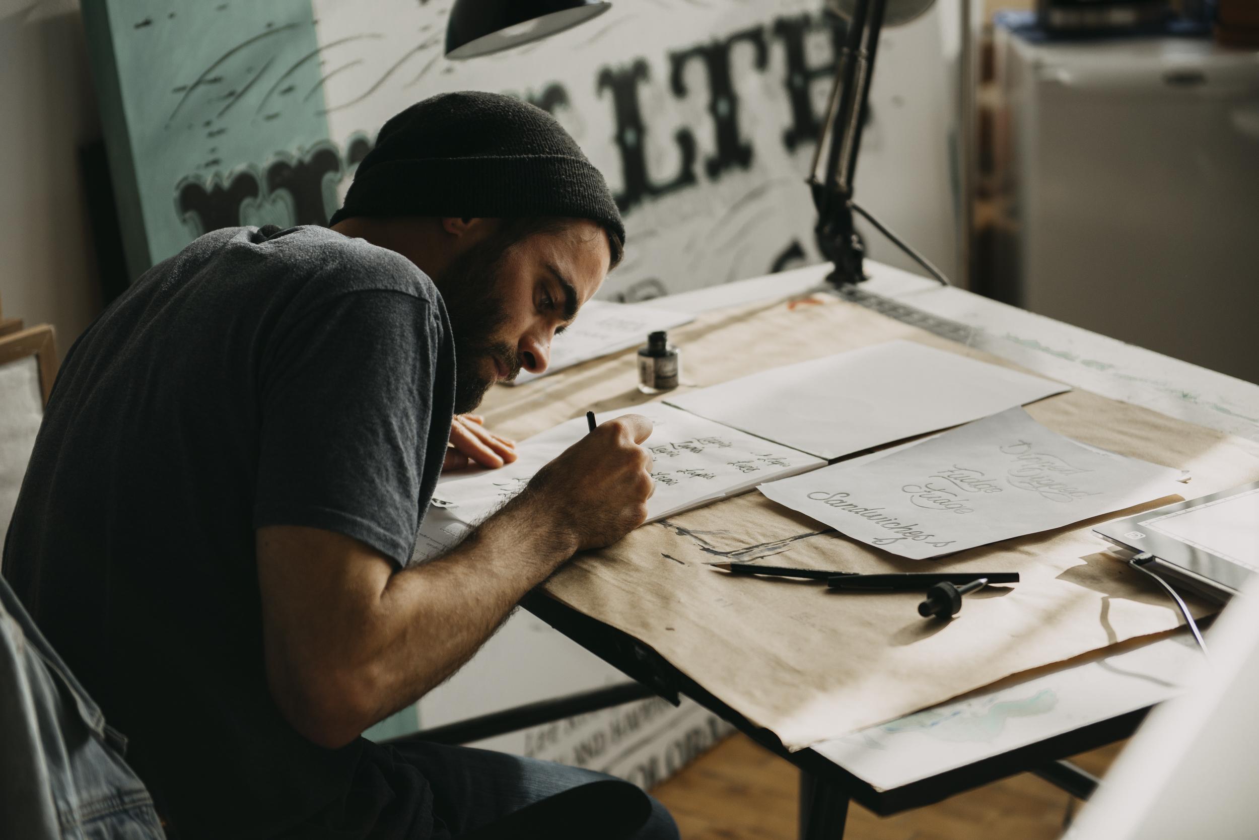 Lettering, hand lettering, Adam Vicarel, drawing, Denver studio, Logo Design