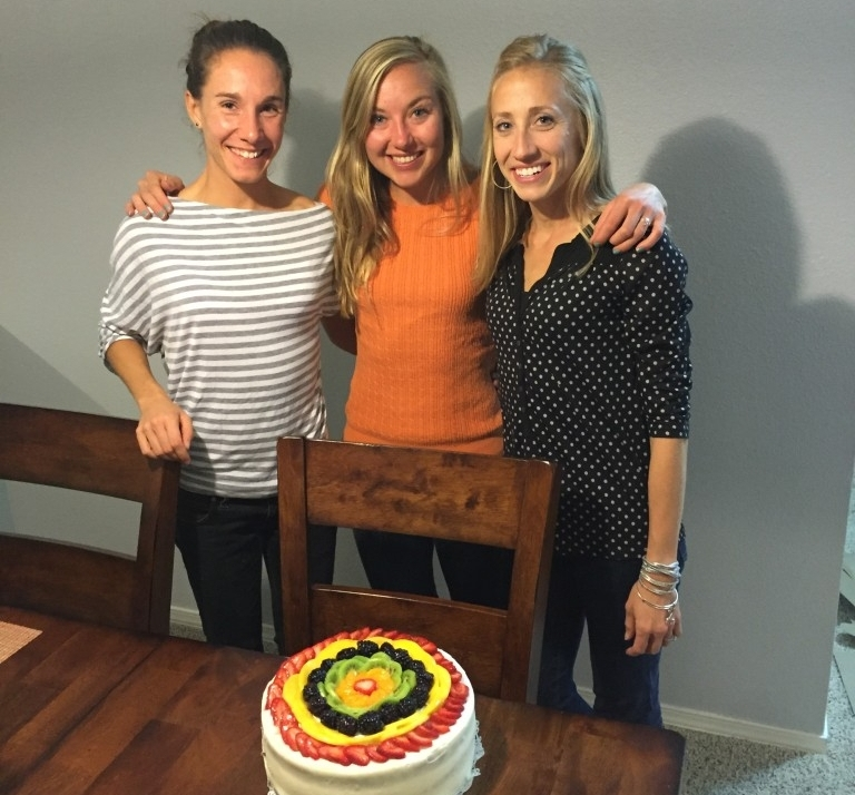 Our little Get Running Elite training group Silvia, Myself, and Kristin. Having our cake and eating it too!!!
