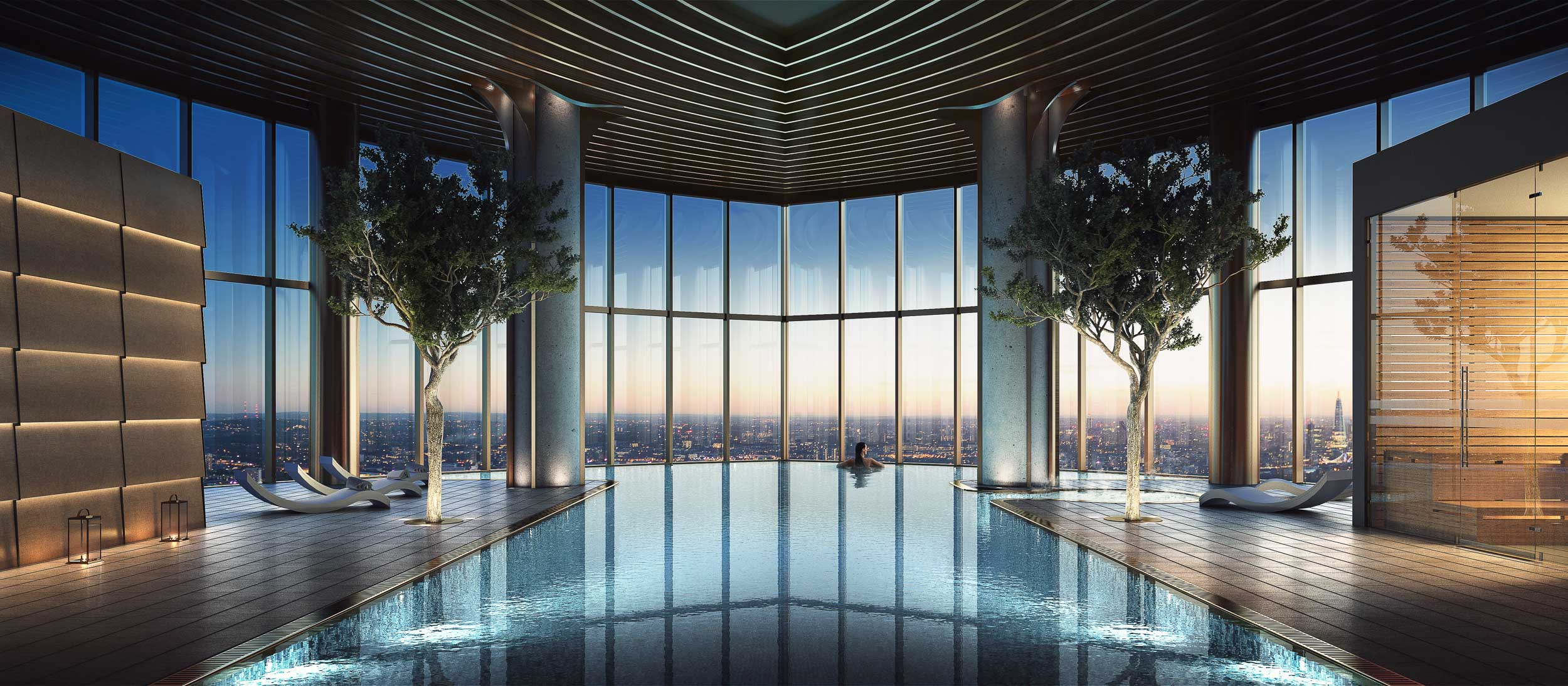 The infinity edge pool on the 35th floor. The pool has a steam room, sauna and jacuzzi all with panoramic views over the docklands and east London