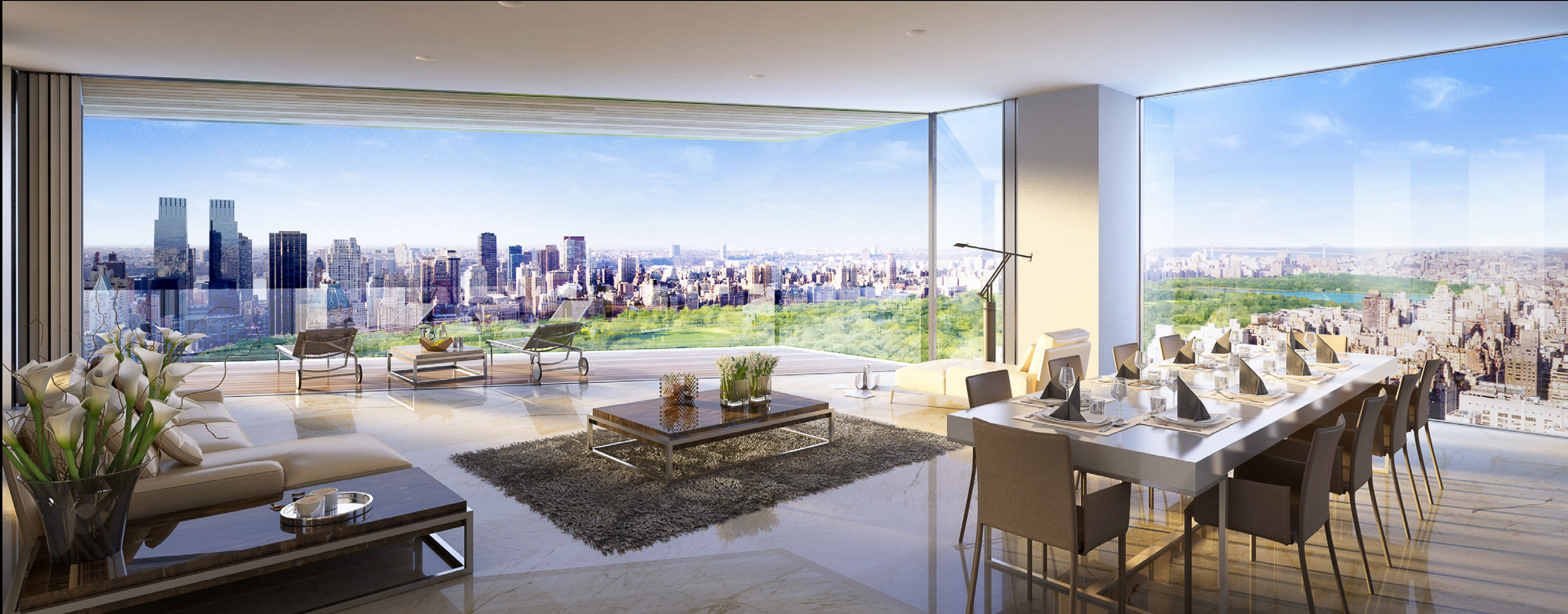 Open plan living space. Private terrace. New York Central Park. Skyscraper aparment. 158 East 61st Street