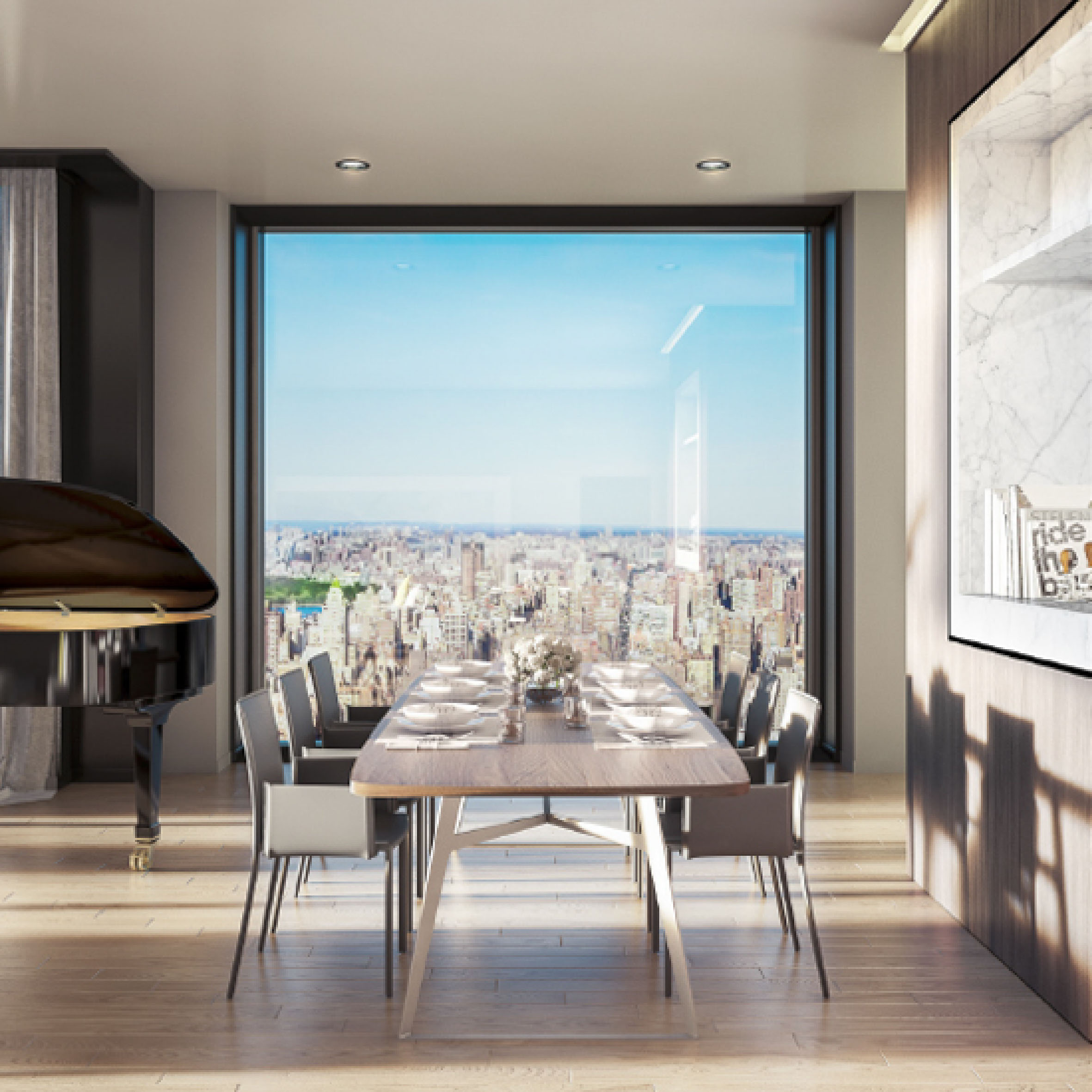 Luxurious dinning room. New York Skyline view. 158 East 61st Street