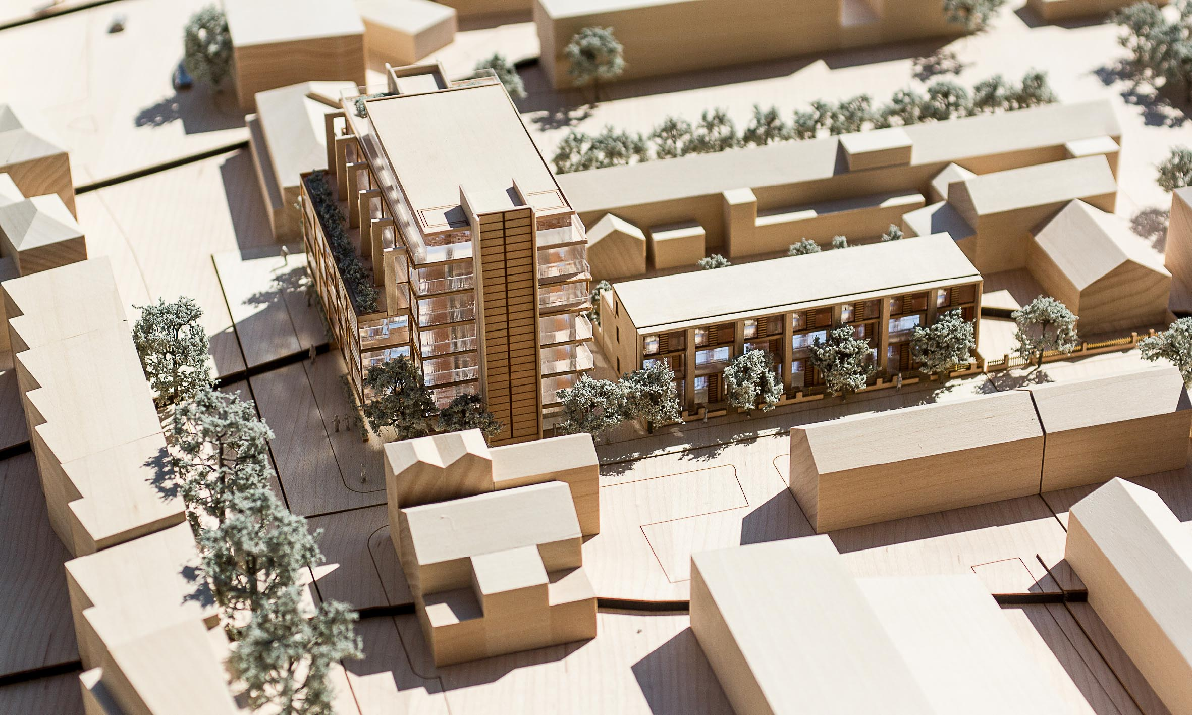 Architectural model of the proposed scheme. 40 apartments and 8 townhouses. The apartments are all dual aspect. The townhouses have private gardens that back onto the existing townhouses along George Street,