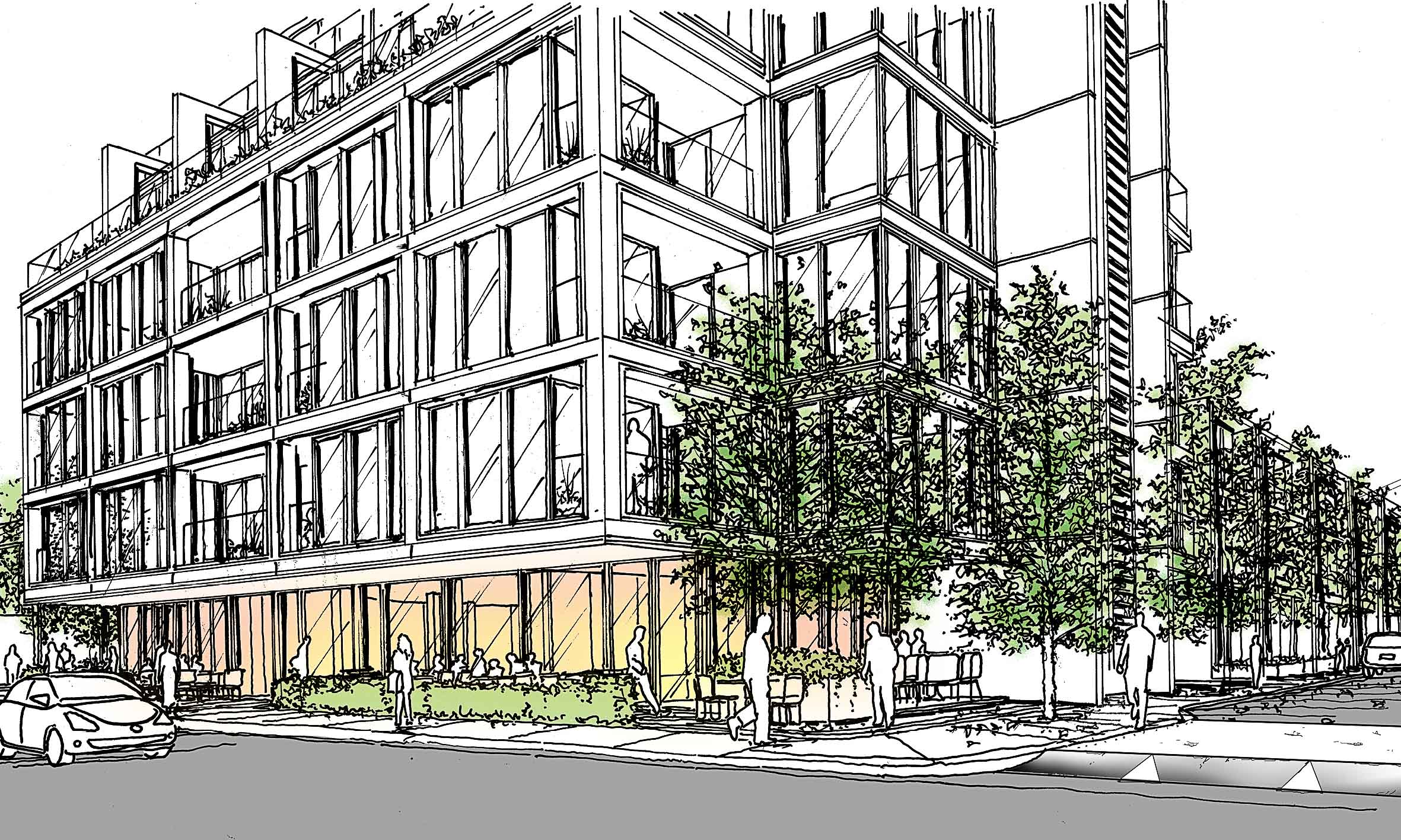 Concept sketch of the proposal. Tree lined avenue along Westminster Road with planted corners on the Uxbridge Road.