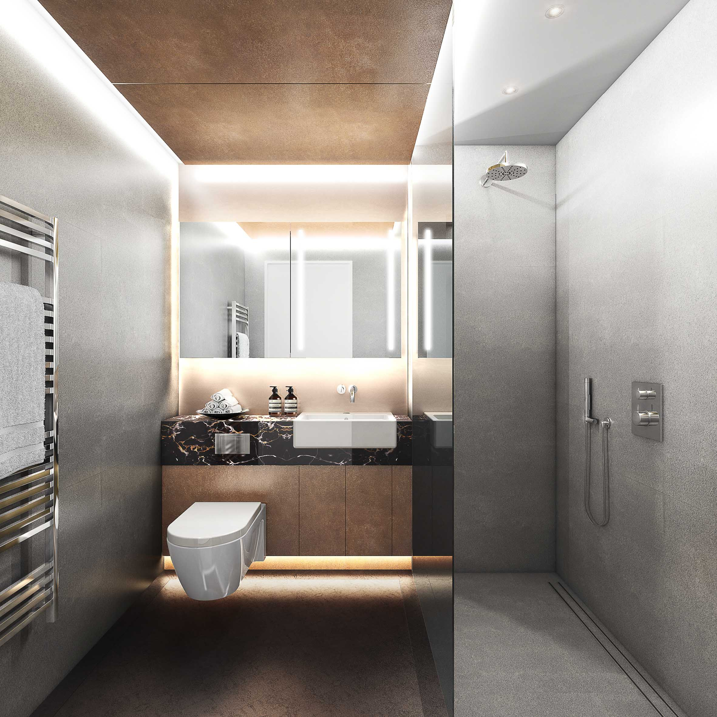 Apartment bathrooms - a palette of warm coper like materials and marbles are used.
